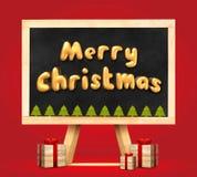 圣诞快乐和圣诞树和当前箱子3d翻译 库存图片
