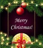 圣诞快乐和愉快的2018新年背景与框架, 皇族释放例证