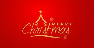 圣诞快乐和招呼在金子色的象的文本设计在抽象红色背景 皇族释放例证