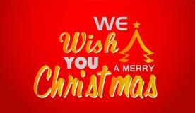圣诞快乐和招呼在金子色的象的文本设计在抽象红色背景 向量例证