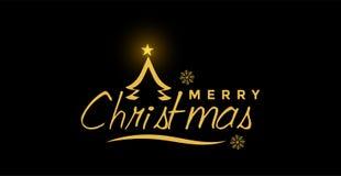圣诞快乐和招呼在金子色的象的文本设计在抽象黑背景 向量例证