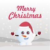 圣诞快乐和新年传染媒介卡片 圣诞快乐导航与滑稽的雪人的卡片 皇族释放例证