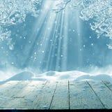 圣诞快乐和新年好与桌的问候背景 免版税库存照片