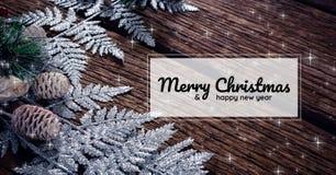 圣诞快乐和新年好在与雪的圣诞节背景发短信 图库摄影