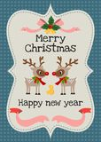 圣诞快乐和新年好导航贺卡 库存图片