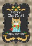 圣诞快乐和新年好导航贺卡 库存照片
