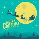 圣诞快乐和新年好横幅与拉扯圣诞老人` s雪橇在满月夜场面传染媒介的鹿设计 皇族释放例证