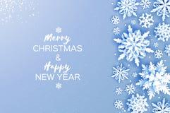 圣诞快乐和新年好贺卡 白皮书裁减雪花 Origami冬天装饰背景 库存例证