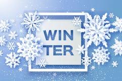 圣诞快乐和新年好贺卡 白皮书裁减雪花 Origami装饰背景 季节性 库存例证