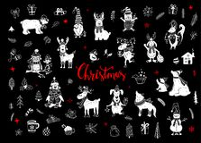 圣诞快乐和新年好逗人喜爱的滑稽的手拉的乱画动物现出轮廓汇集 图库摄影