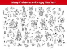 圣诞快乐和新年好逗人喜爱的滑稽的手拉的被概述的乱画动物 库存例证