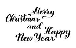 圣诞快乐和新年好 与手拉的字法的现代书法行情 也corel凹道例证向量 库存例证