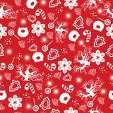 圣诞快乐和新年好 与新年树,猪,雪花,甜点,雪人,冬天树的圣诞节无缝的样式 库存例证