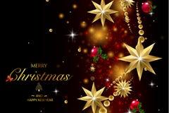 圣诞快乐和新年好 传染媒介闪烁装饰,金黄尘土 图库摄影