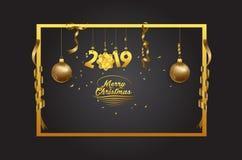 圣诞快乐和新年好2019年背景 免版税库存照片