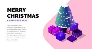 圣诞快乐和新年好 等量传染媒介 向量例证
