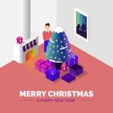 圣诞快乐和新年好 等量传染媒介 库存例证