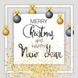 圣诞快乐和新年好 金子 皇族释放例证