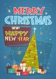 圣诞快乐和新年快乐与绿色假日树和礼物的贺卡 免版税库存照片