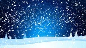 圣诞快乐和新年快乐从白色雪花在一个蓝色夜风景 假日生气蓬勃的冬天背景 向量例证