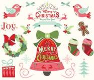 圣诞快乐和新年快乐元素 库存例证