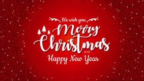 圣诞快乐和新年快乐印刷在与闪烁纹理的红色背景 庆祝Xmas卡片,横幅 圣诞节 库存例证
