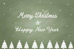 圣诞快乐和新年快乐文本白垩 库存照片