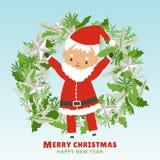 圣诞快乐和新年快乐有圣诞老人项目和花圈的 皇族释放例证