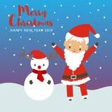 圣诞快乐和新年快乐有圣诞老人项目的和雪人 向量例证