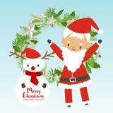 圣诞快乐和新年快乐有圣诞老人项目的,雪人 皇族释放例证