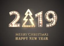 2019圣诞快乐和新年快乐有Lighbulbs的 减速火箭的招呼的背景 库存例证