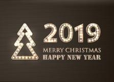 2019圣诞快乐和新年快乐有Lighbulbs的 减速火箭的招呼的背景 向量例证