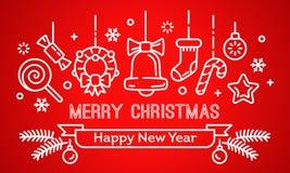 圣诞快乐和新年快乐横幅,概述样式 库存例证