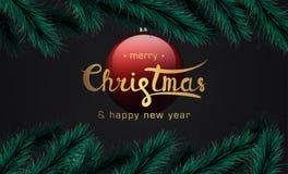 圣诞快乐和新年快乐横幅 皇族释放例证