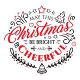 圣诞快乐和新年快乐的书法字法在白色背景 免版税库存照片
