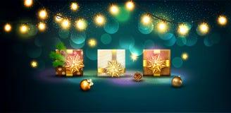 圣诞快乐和新年快乐的传染媒介例证 Gre 库存图片