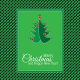 圣诞快乐和新年快乐绿色设计贺卡 库存例证
