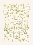 圣诞快乐和新年快乐贺卡或明信片模板与中看不中用的物品装饰的鹿鹿角,雪花 向量例证