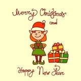 圣诞快乐和新年快乐贺卡有假日矮子女孩手拉的字法背景 库存照片