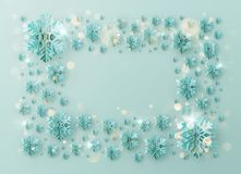 圣诞快乐和新年快乐问候与箔雪花的模板框架假日海报的,招贴,横幅 皇族释放例证
