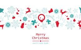 圣诞快乐和新年快乐,最小,葡萄酒,无缝的p 库存例证