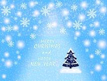 圣诞快乐和新年快乐,贺卡,在蓝色和白色 向量例证