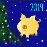 圣诞快乐和新年快乐!一棵新年树的分支 多彩多姿球的圣诞节 年的标志2019年-黄色 库存例证