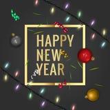 圣诞快乐和新年快乐2018年贺卡,传染媒介例证 免版税库存图片
