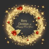 圣诞快乐和新年快乐2018年贺卡,传染媒介例证 免版税图库摄影