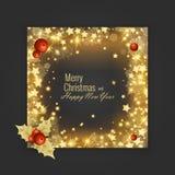 圣诞快乐和新年快乐2018年贺卡,传染媒介例证 库存图片