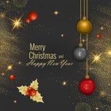 圣诞快乐和新年快乐2018年贺卡,传染媒介例证 库存照片