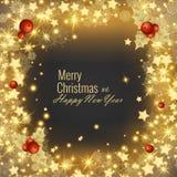圣诞快乐和新年快乐2018年贺卡,传染媒介例证 图库摄影