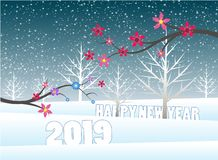 圣诞快乐和新年快乐2019年 向量例证