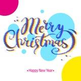 圣诞快乐和新年好上色了在白色背景的书法字法 权威标签,传染媒介 向量例证